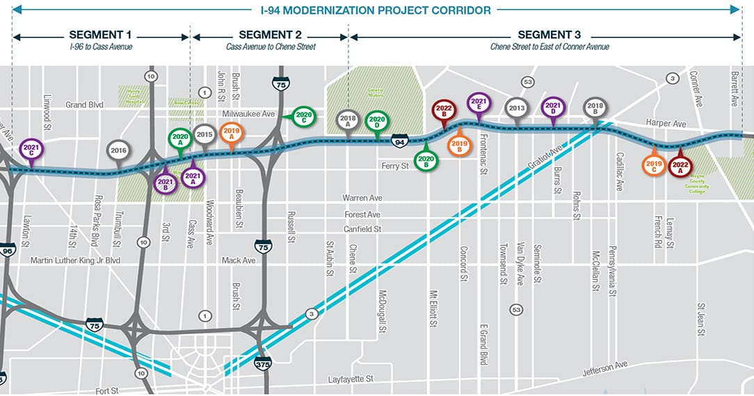 Graphic of I-94 Modernization Project Corridor with marked segments