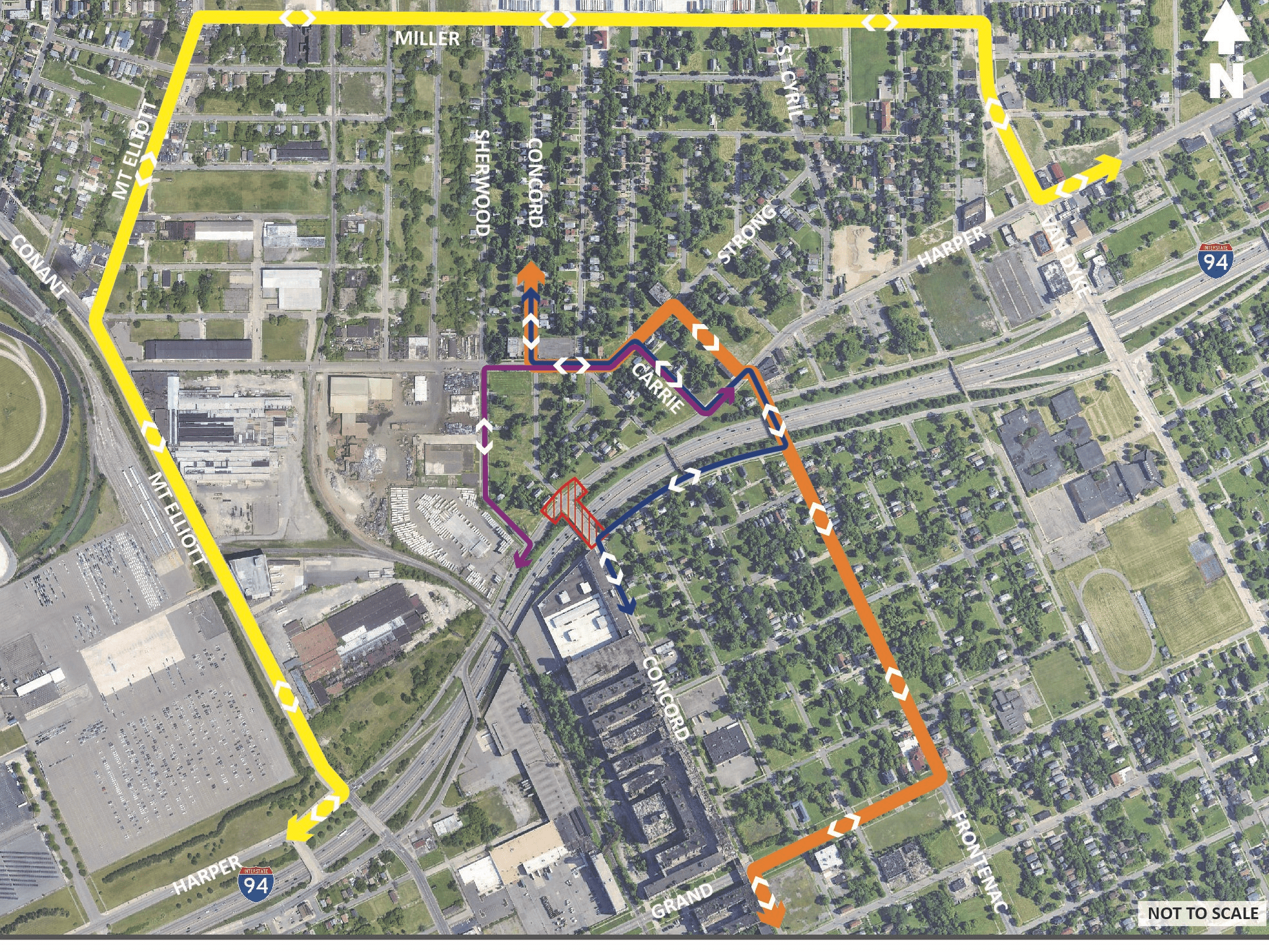 Map of Concord St. Bridge Detours