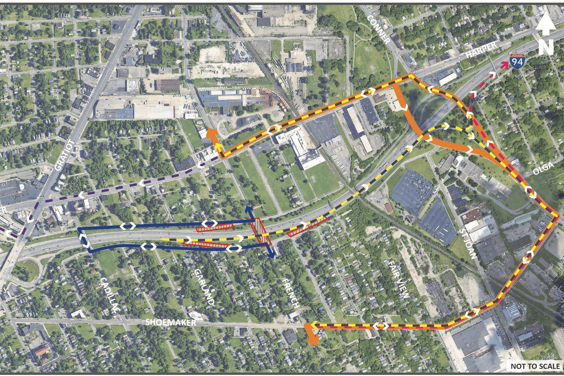 Map of French Rd. Bridge Detours